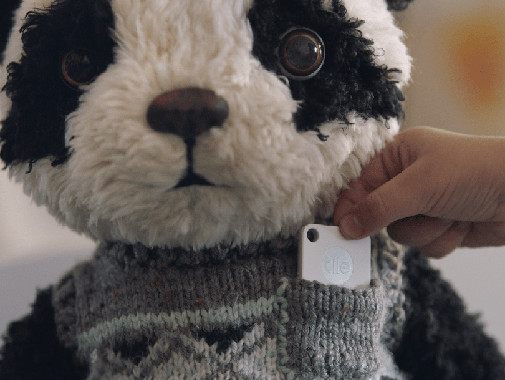 Panda Stuff Toy With Tile Mate In Sweater Pocket