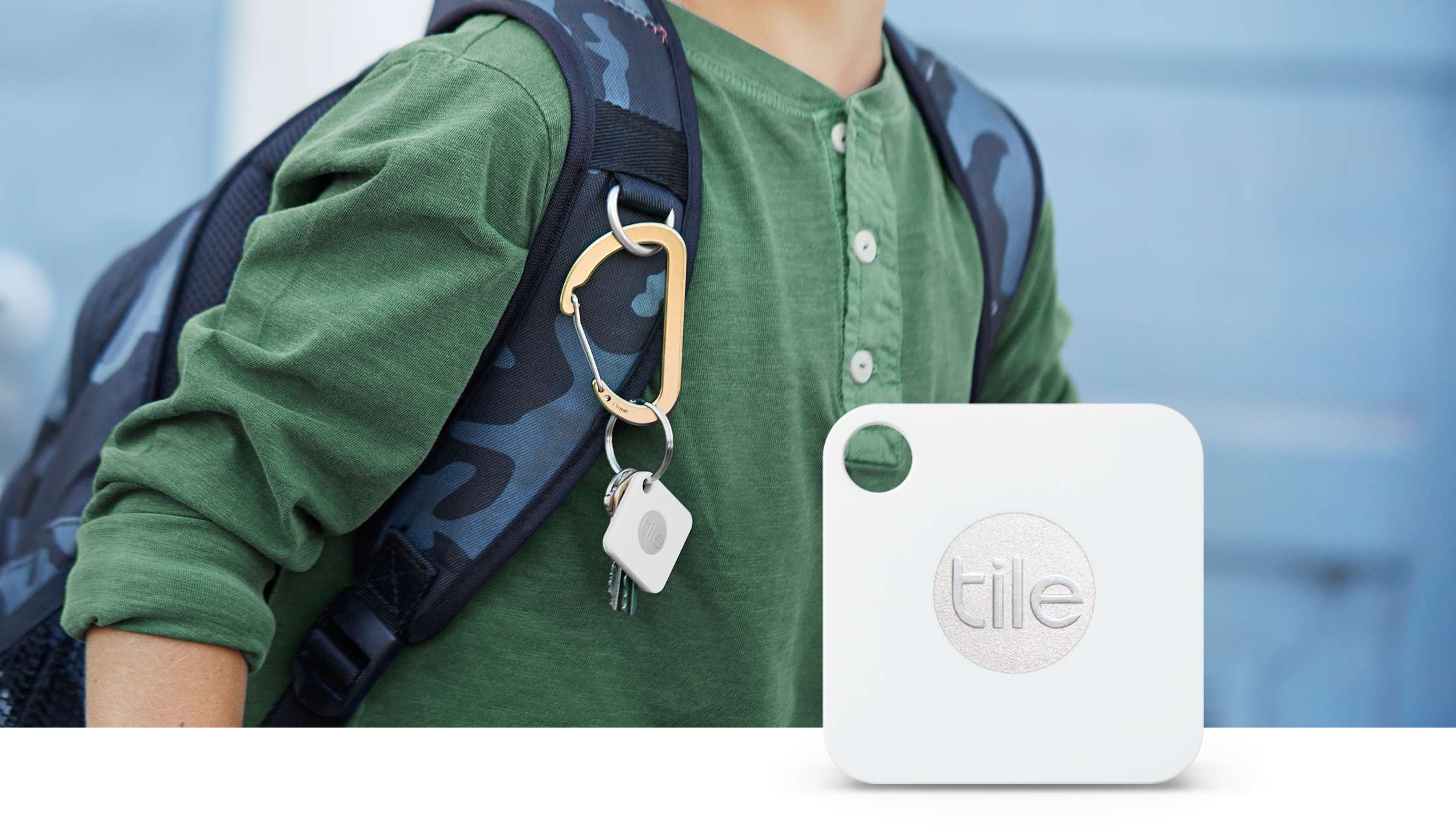 Tile Mate on backpack