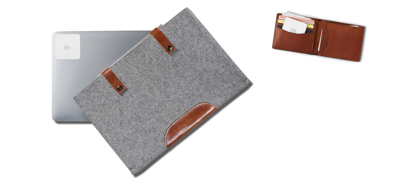 Tile Slim on laptop and wallet