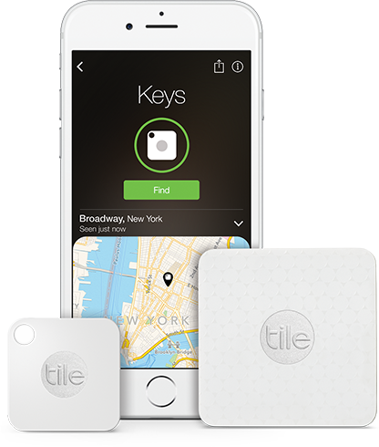 Find keys screen shot from the Tile app, Tile Mate and Tile Slim